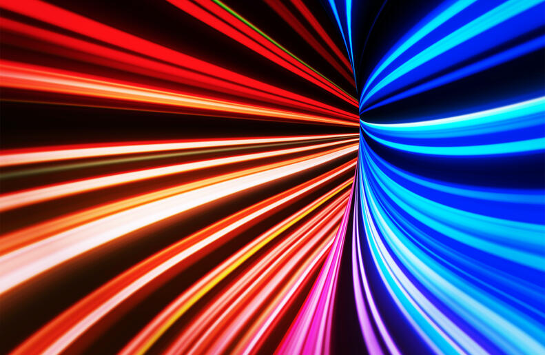 Colorful light trail tunnel with vanishing point