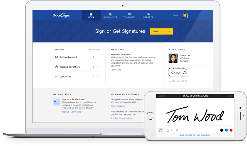 DocuSign user interface shown in a laptop